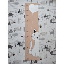 Kočička - dětský metr na zeď (detail)