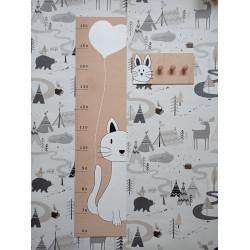 Kočička - dětský metr a věšák na zeď