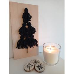 Stromeček z vlny - černý (svíčka a sněhové vločky)