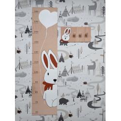 Zajíček - dětský metr a věšák na zeď