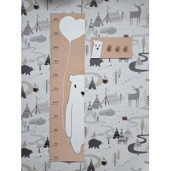 Lední medvídek - dětský metr a věšák na zeď